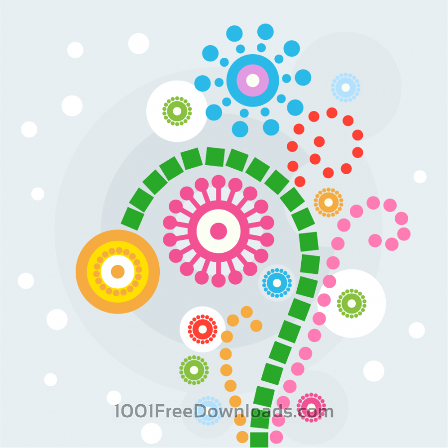 Free Vectors: Colorful flowers Illustration | Abstract