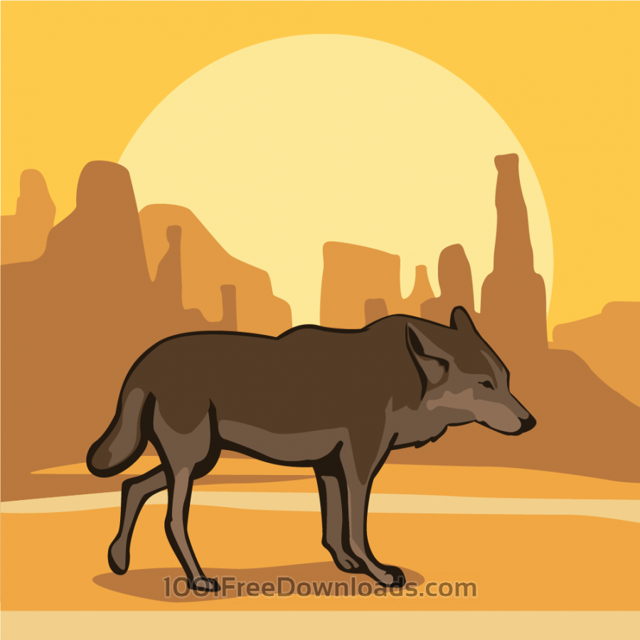 Free Vectors: Desert Wolf at Sunset | Animals