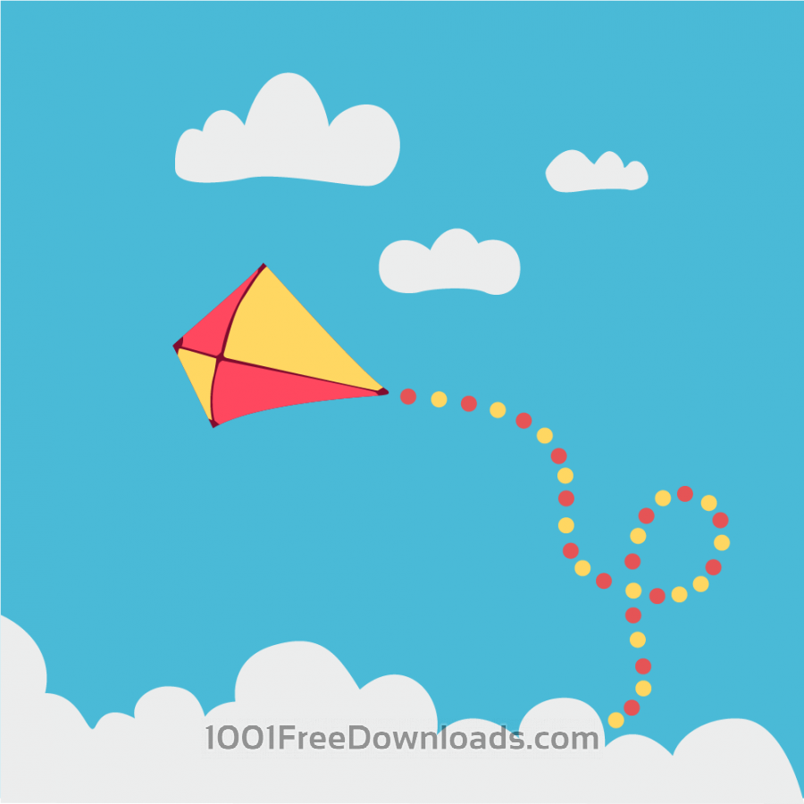 Free Vectors: Children kite flying above the clouds | Cartoons