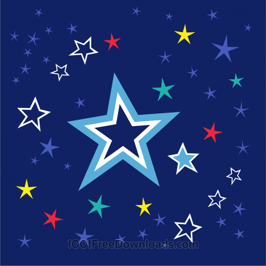 Free Colorful stars on night sky