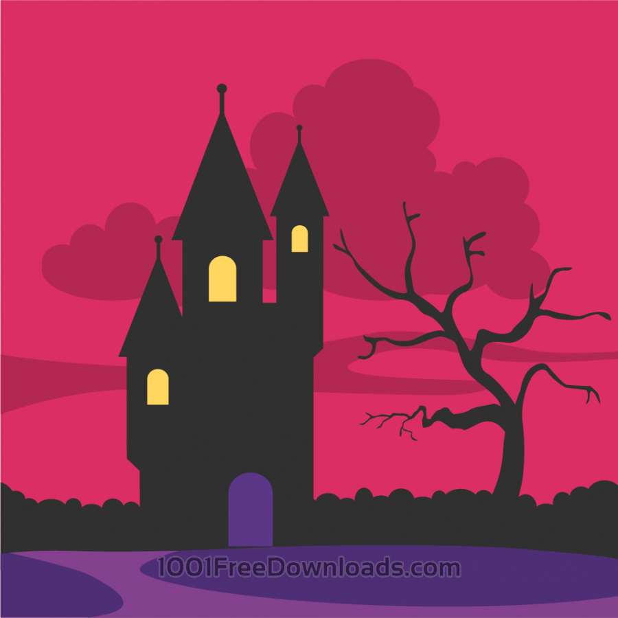 Free Creepy castle at the dawn