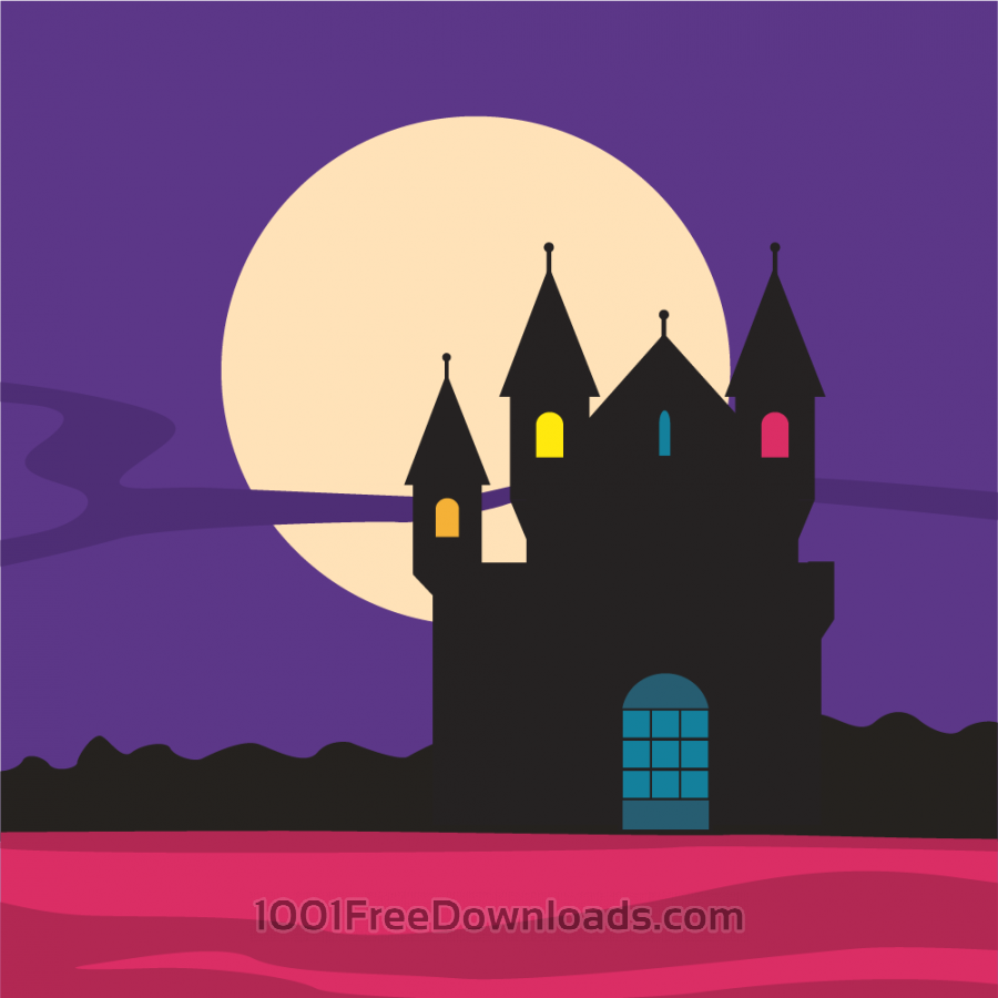 Free Mysterious castle silhouette with moon in the background