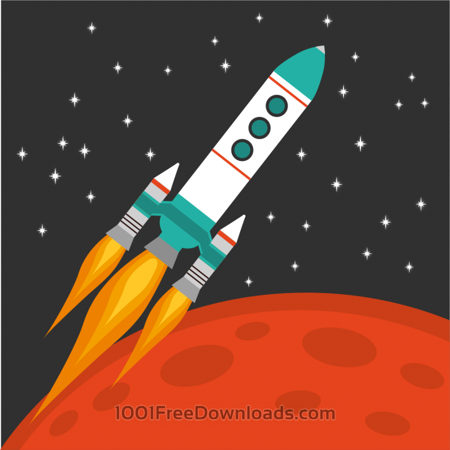 Free Rocket flying in space with red planet and stars on background