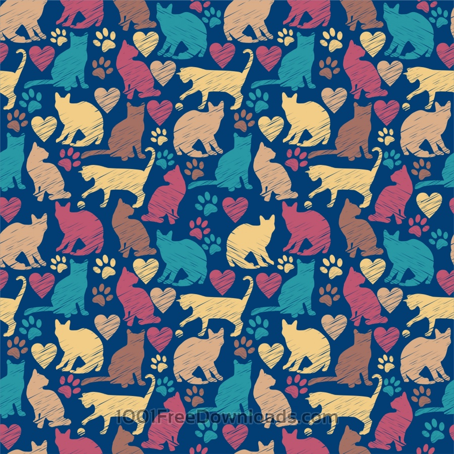 Free Seamless pattern of cats