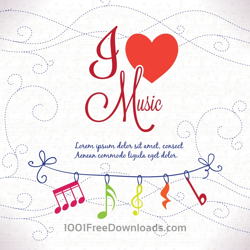 Free Vectors: I Love Music Background | Abstract