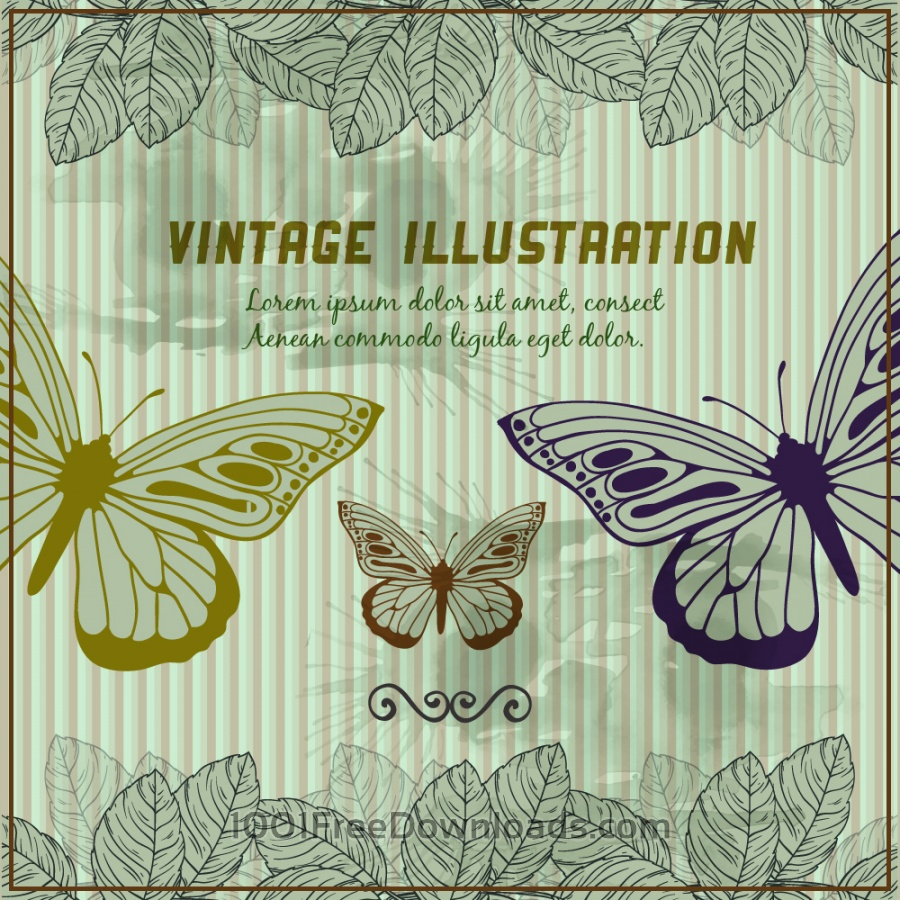 Free Vectors: Vintage background with butterflies | Backgrounds