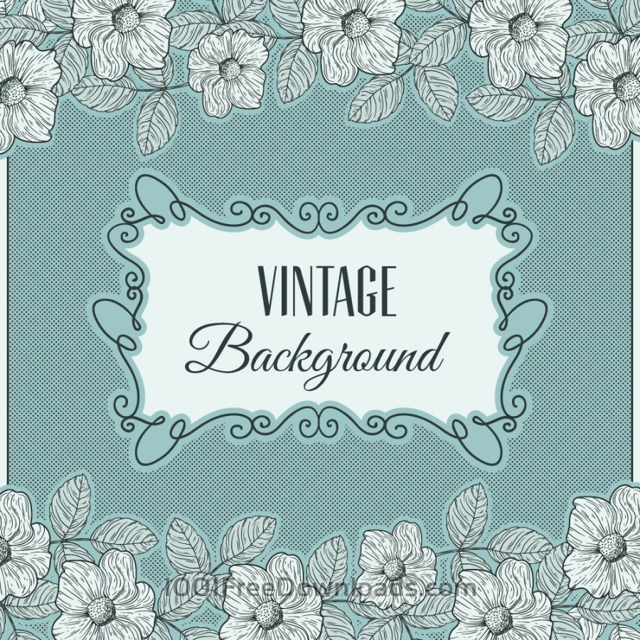 Free Vintage flowers with frame and typography