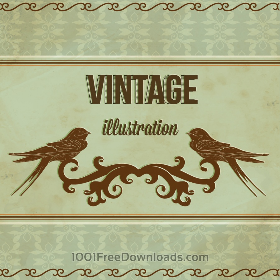 Free Vintage illustrations with ormanent and swallow