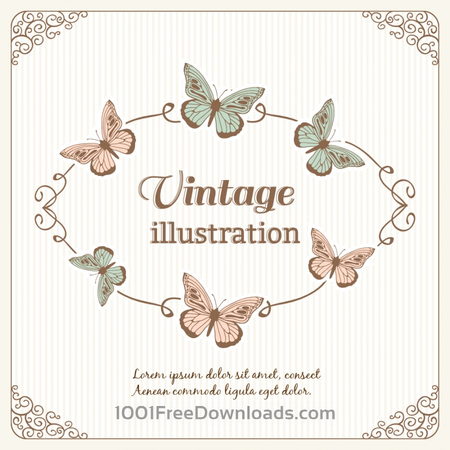 Free Vintage frame with butterflies and typography