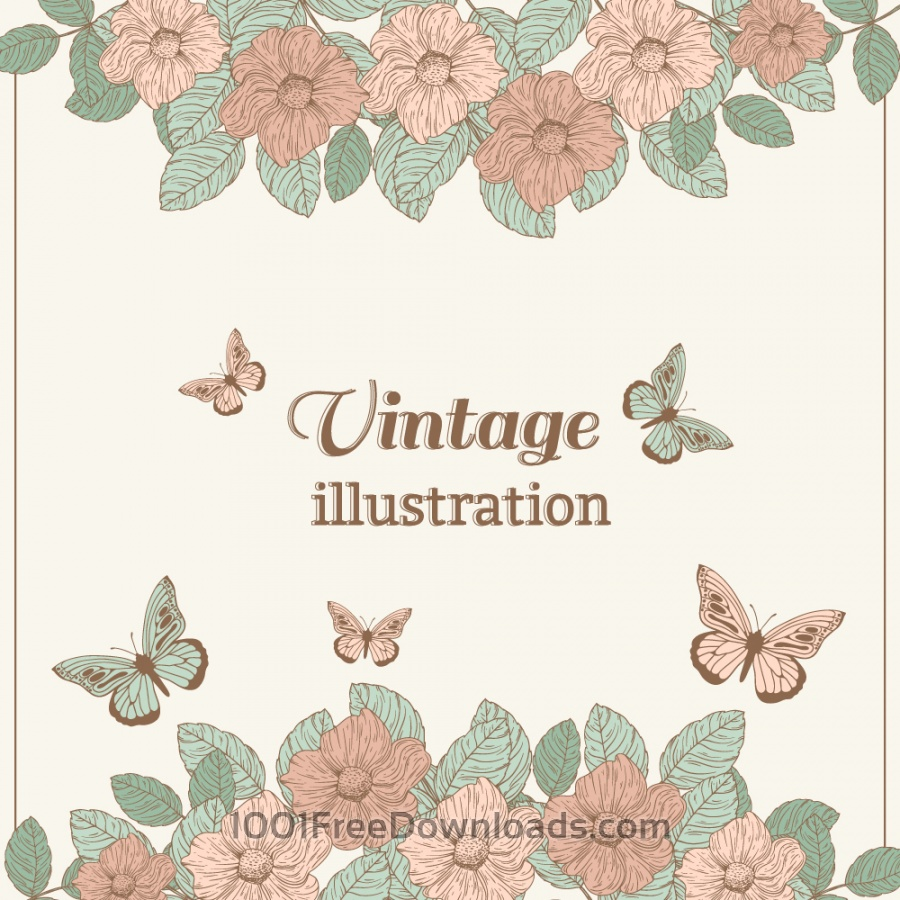 Free Vectors: Vintage flower illustration with butterfly | Backgrounds