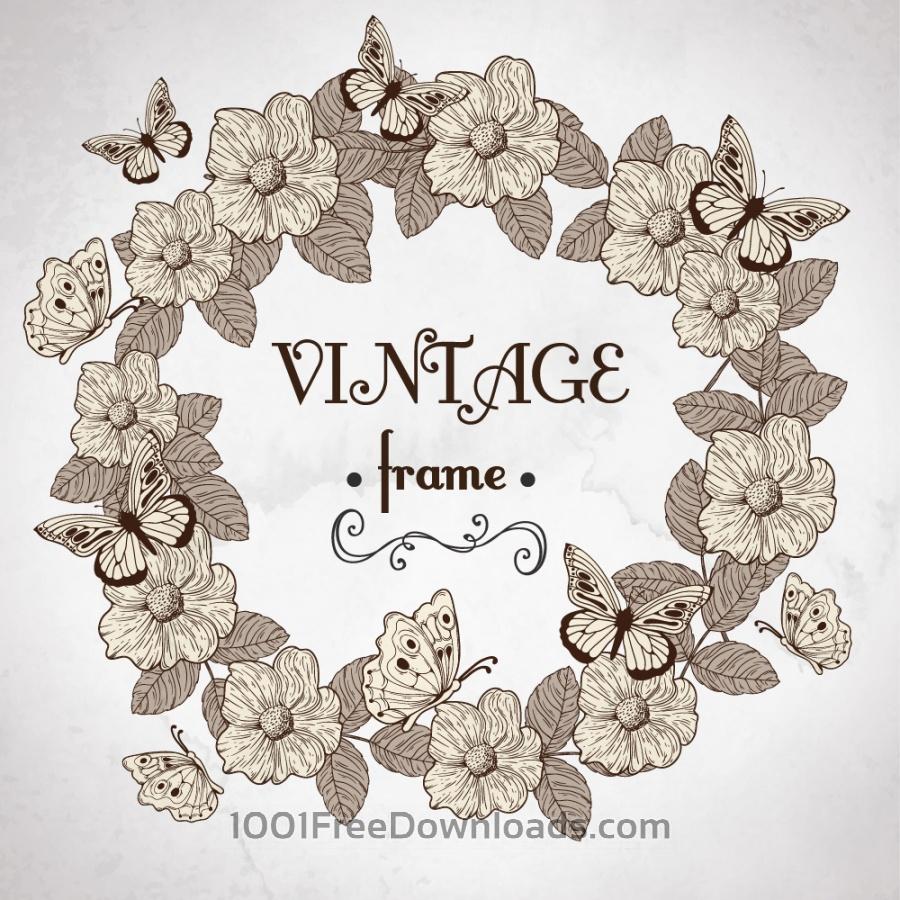 Free Vectors: Vintage floral frame | Backgrounds