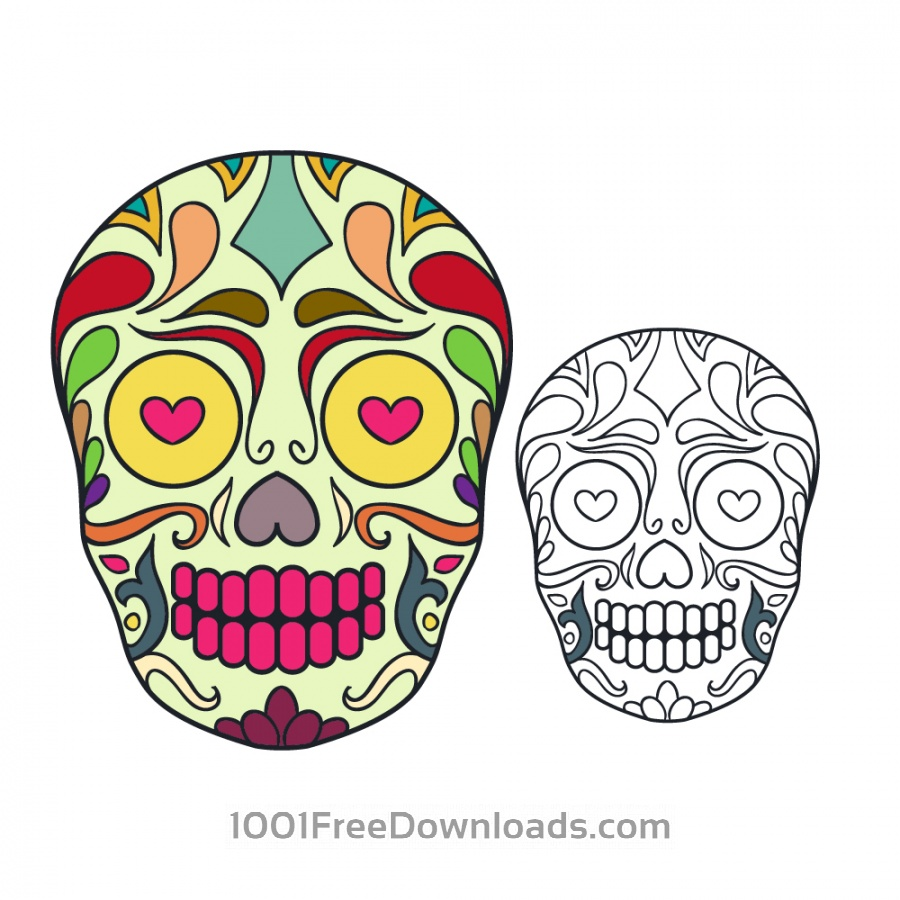 Free Vector sugar skull illustration