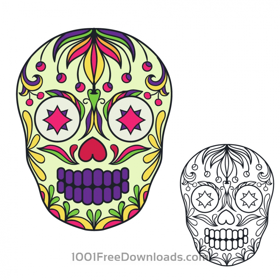 Free Vectors: Vector sugar skull illustration | Abstract