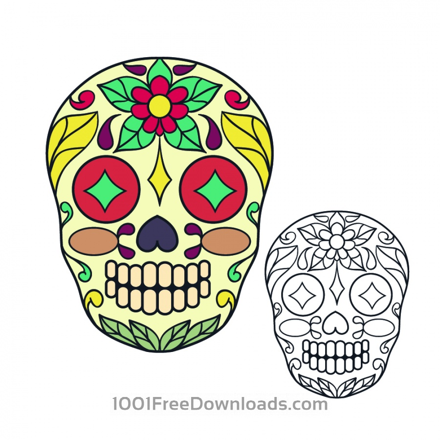 Free Vectors: Vector sugar skull illustration | Art