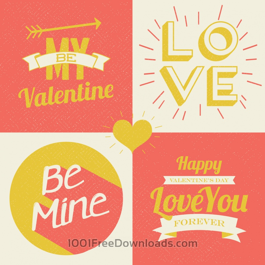 Free Valentines day illustrations and typography elements