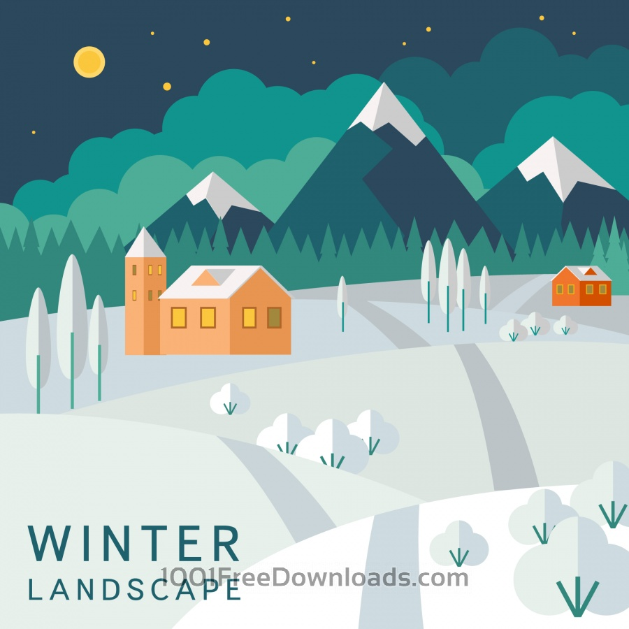 Free Vectors: Winter landscape | Abstract