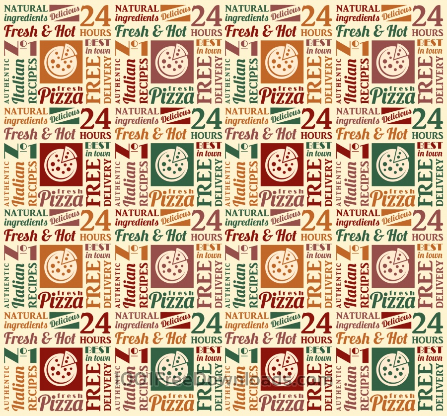 Free Seamless pattern with pizza lettering