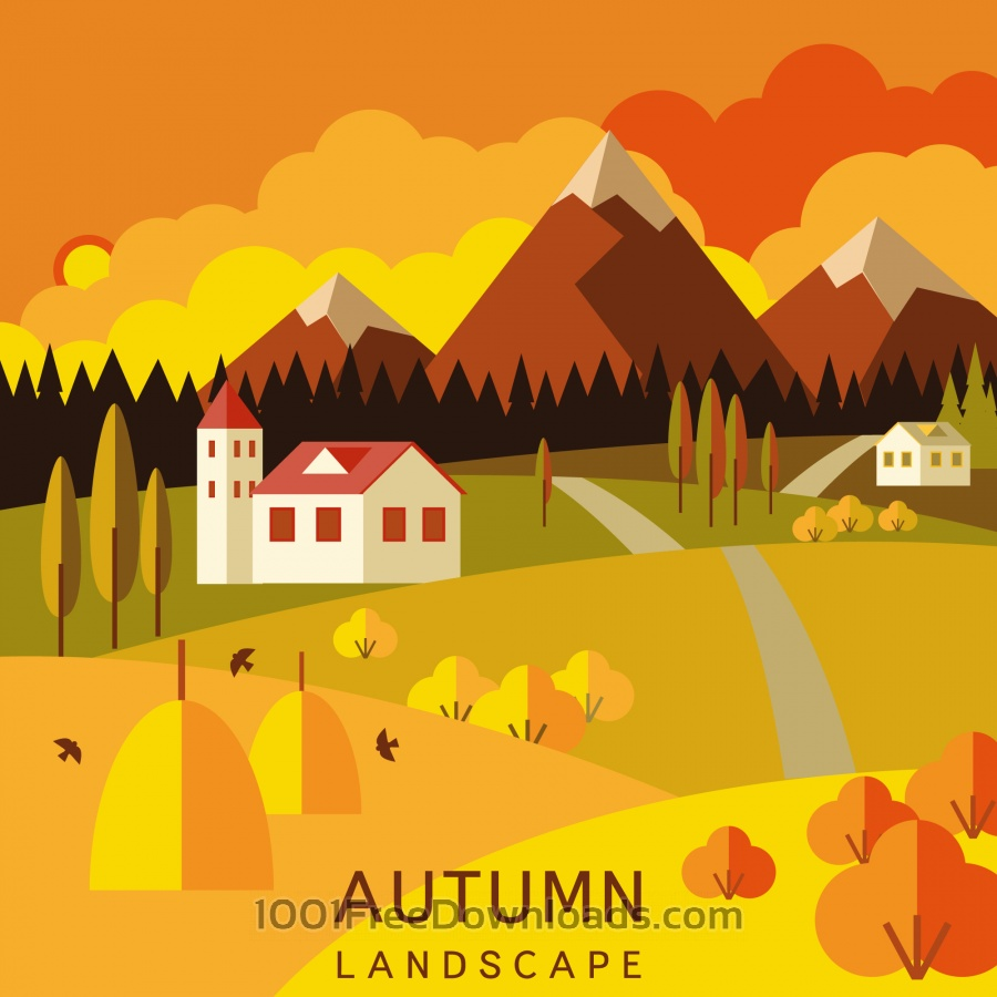 Free Vectors: Autumn landscape | Abstract