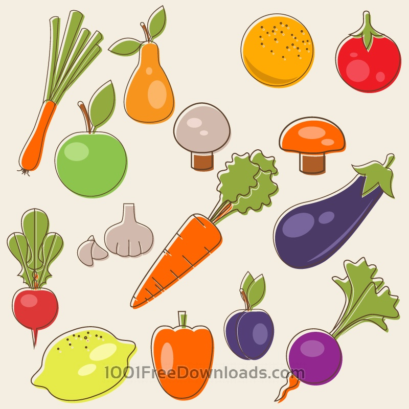 Free Vectors: Cartoon fruits vector set | Abstract