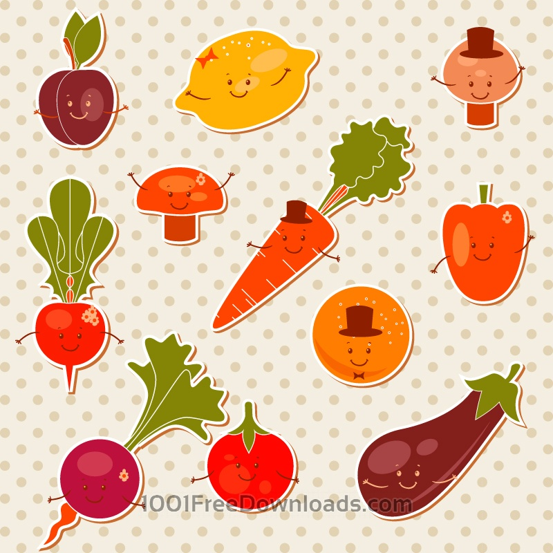 Free Cartoon fruits vector set