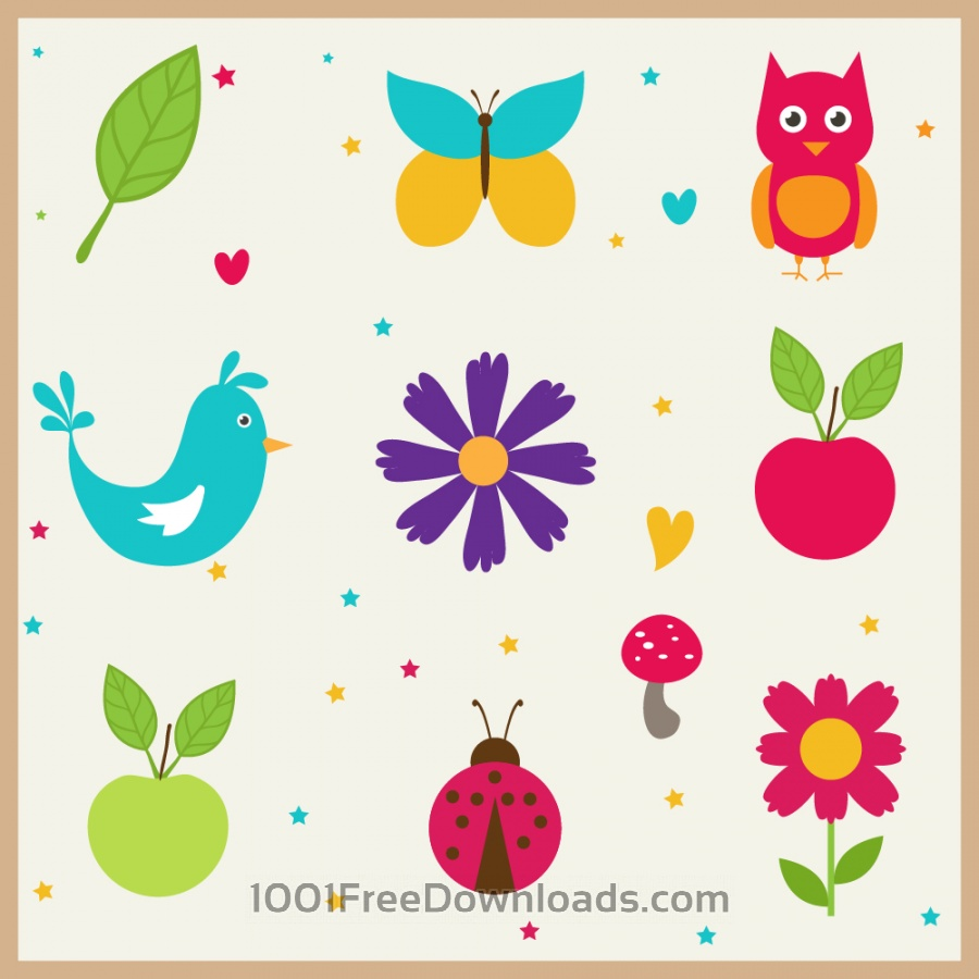 Free Vectors: Cute doodle nature elements | Flowers