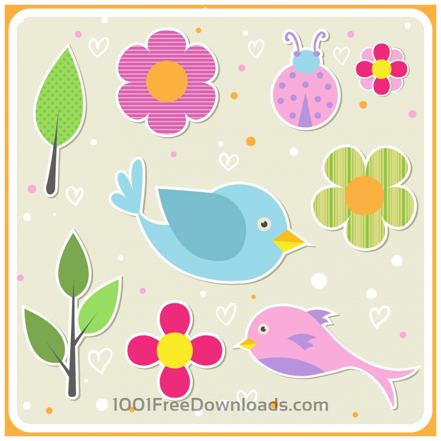 Free Vectors: Cute doodle nature elements | Backgrounds
