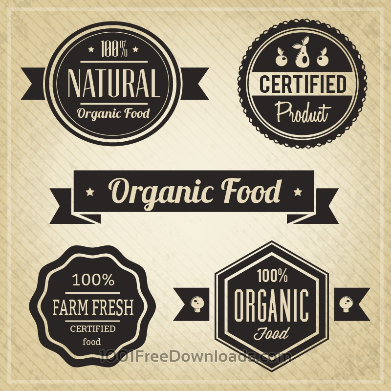 Free Organic Food, Vintage Labels
