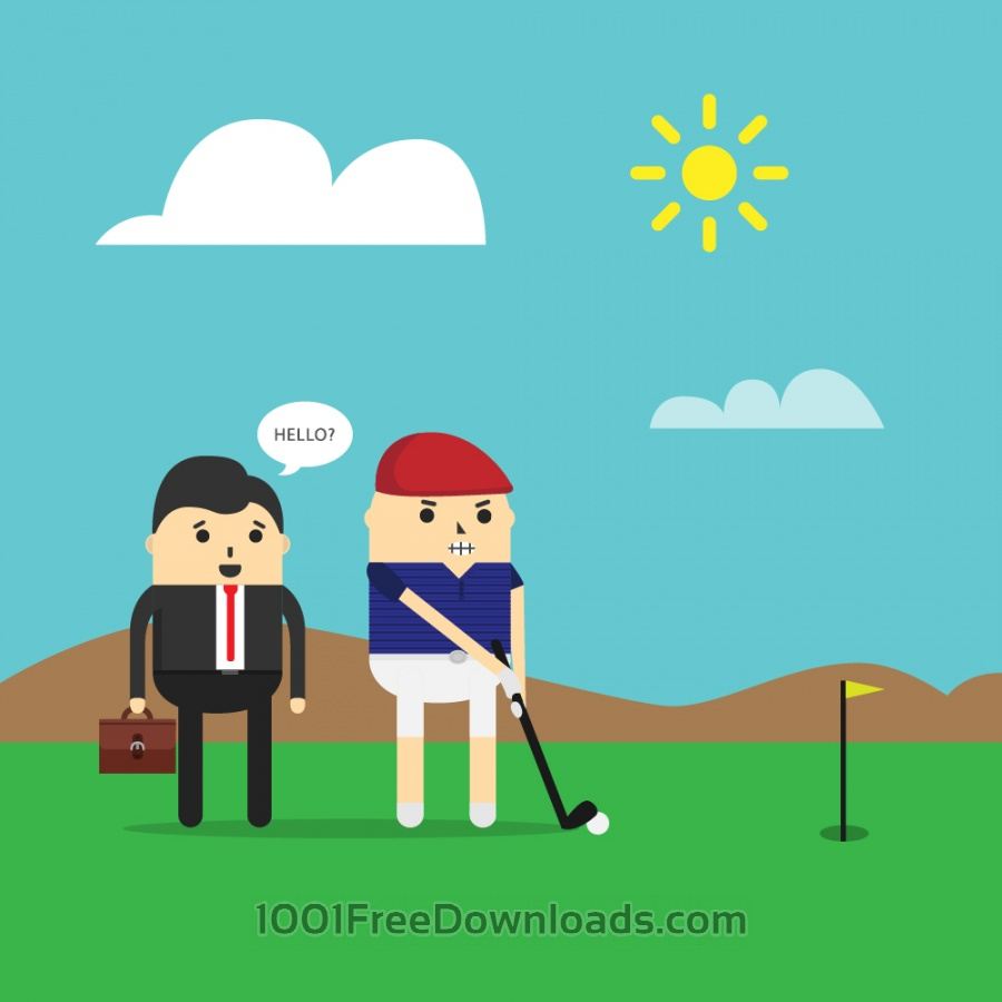 Free Vectors: Playing golf | Cartoons