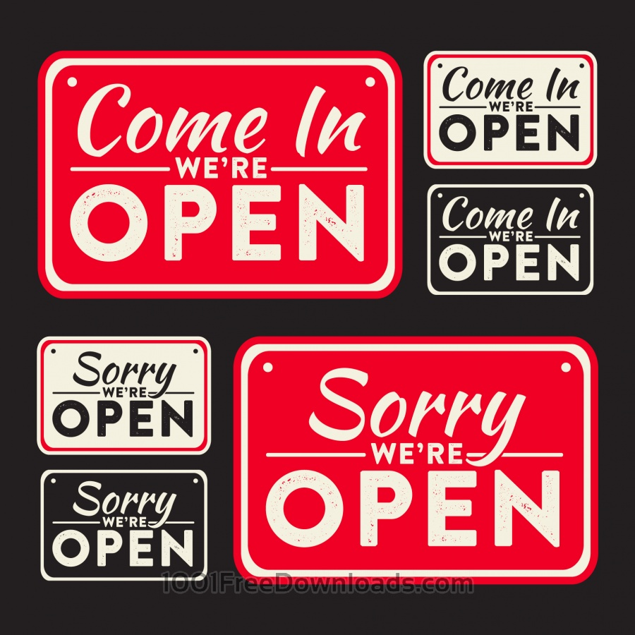 Free Vector open and closed signs