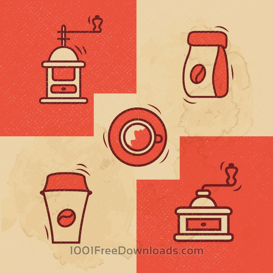 Free Vectors: Vintage Coffee icons with Grunge Effect | Backgrounds