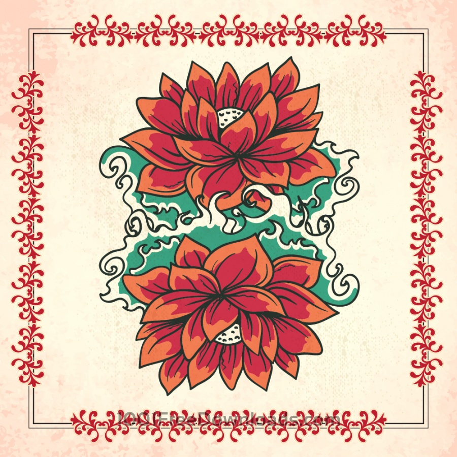 Free Vectors: Vintage illustration with flowers and frame | Backgrounds