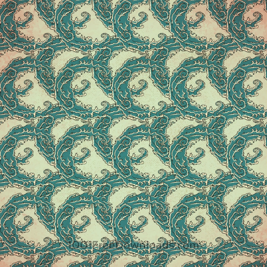 Vintage japanese pattern with waves