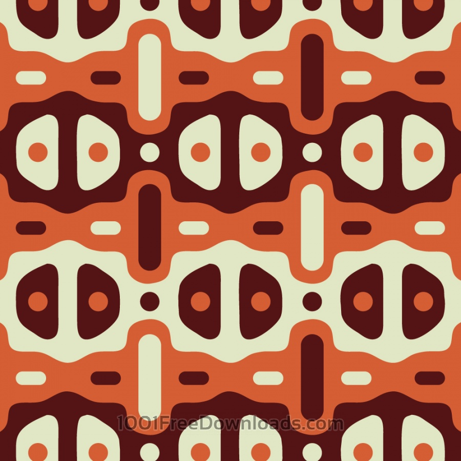 Free Retro Maroon, Orange, and Cream Pattern