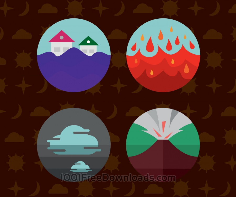 Free Weather icons. Vector illustration.