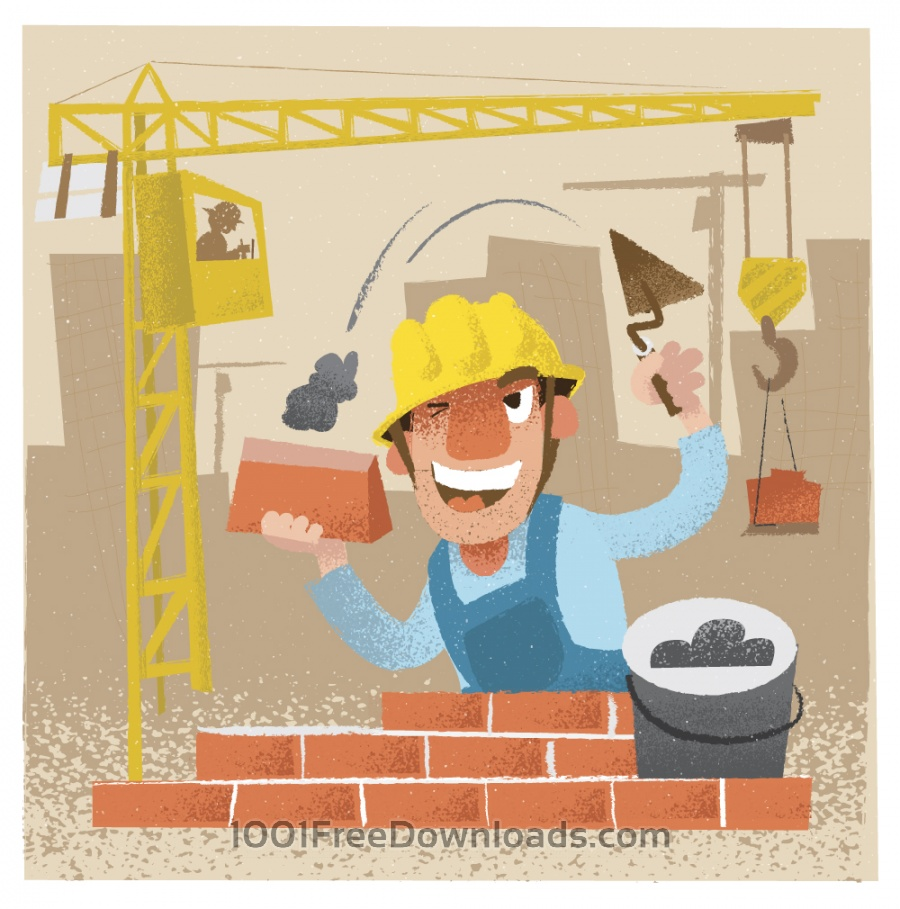Free Builder man character. Vector illustration