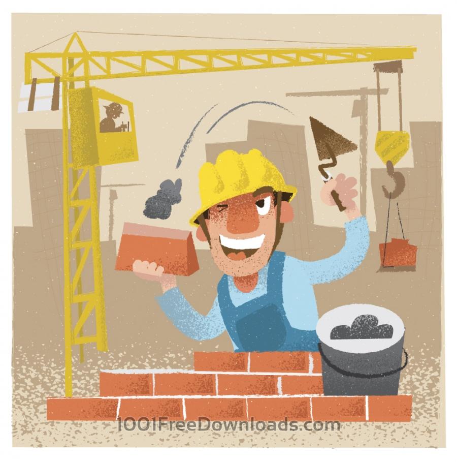 Free Builder man character. Vector illustration