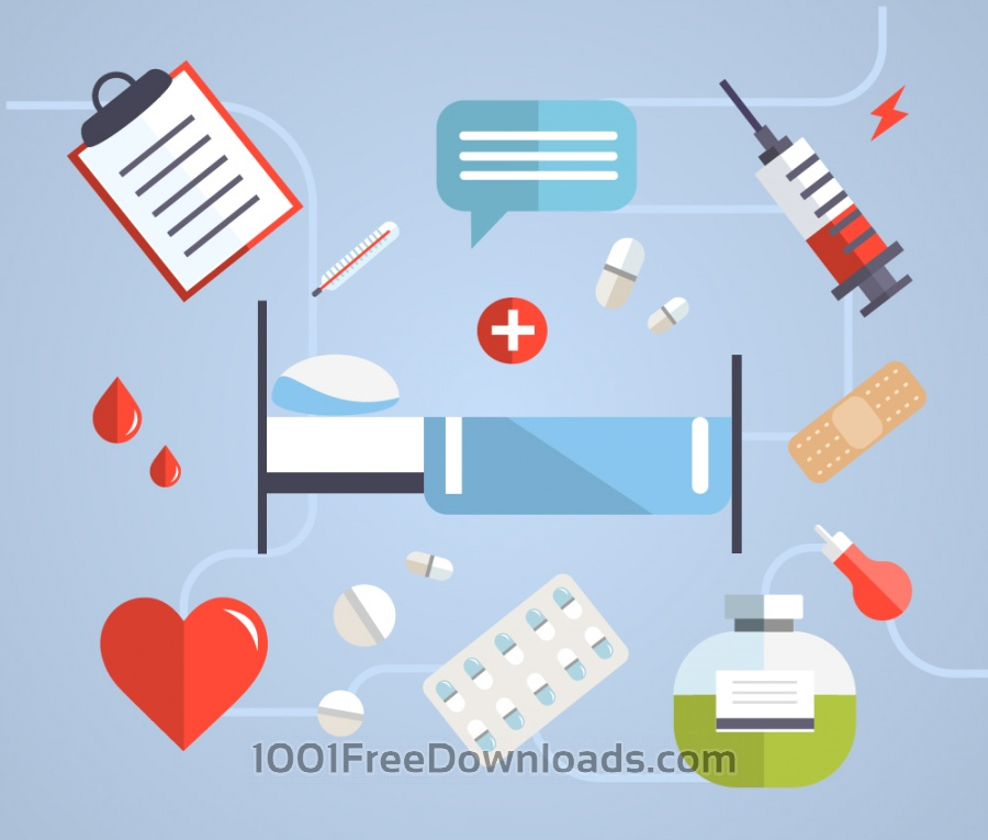 Free Vectors: Medical objects for design. Vector illustrations | Icons