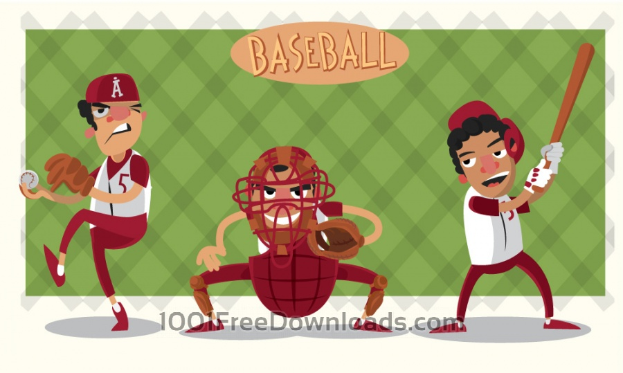 Free Vectors: Baseball game characters and objects. Vector illustration | Objects