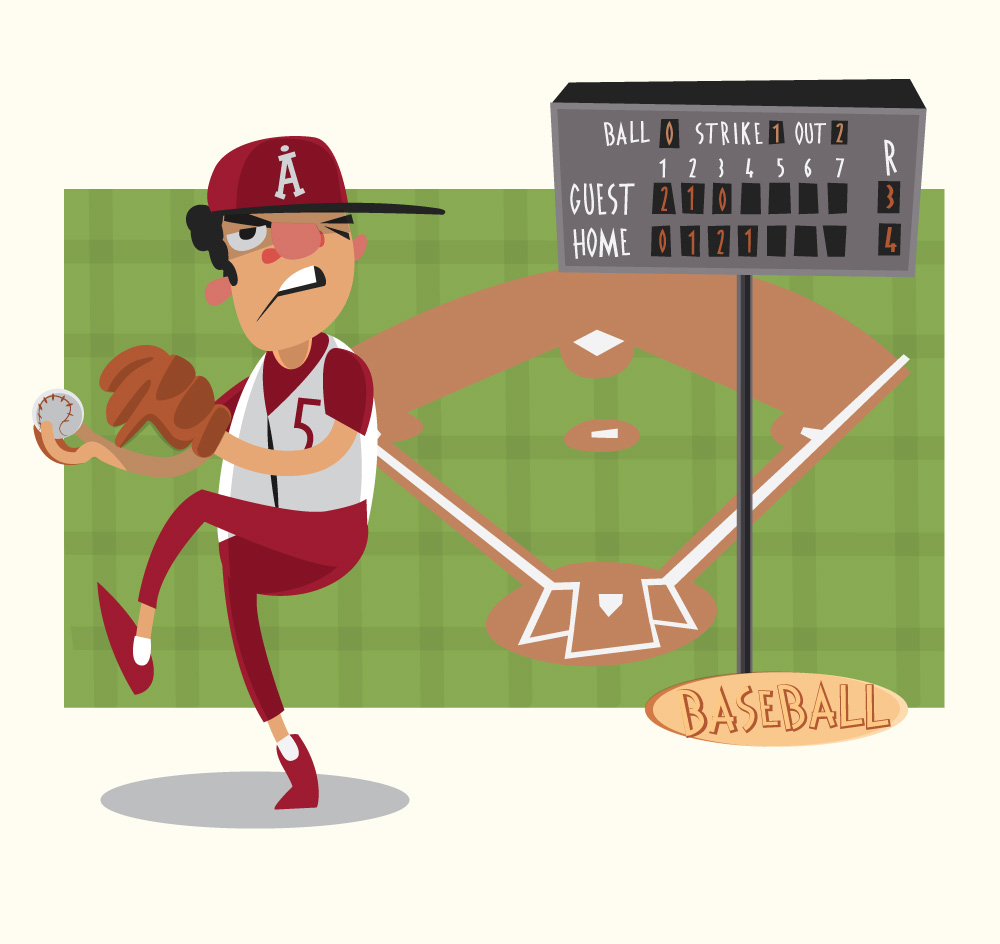 Free Vectors Baseball Game Characters And Objects Vector Illustration Objects