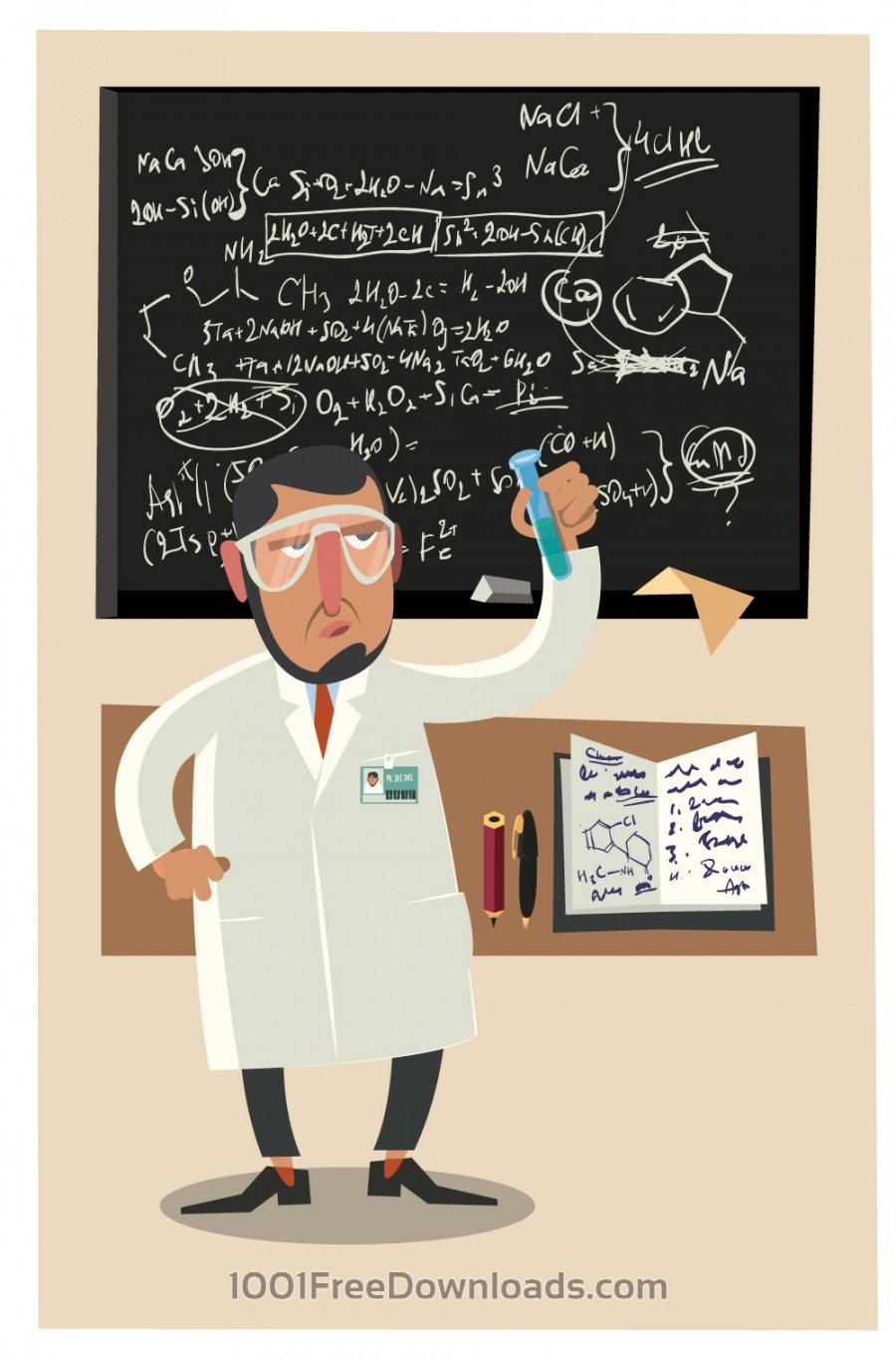 Free Vectors: Chemical character and tubes illustration vector | Design