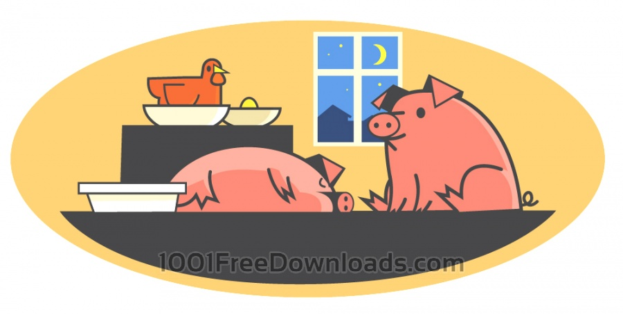 Free Vectors: Characters farm pets vector illustration for design | Backgrounds