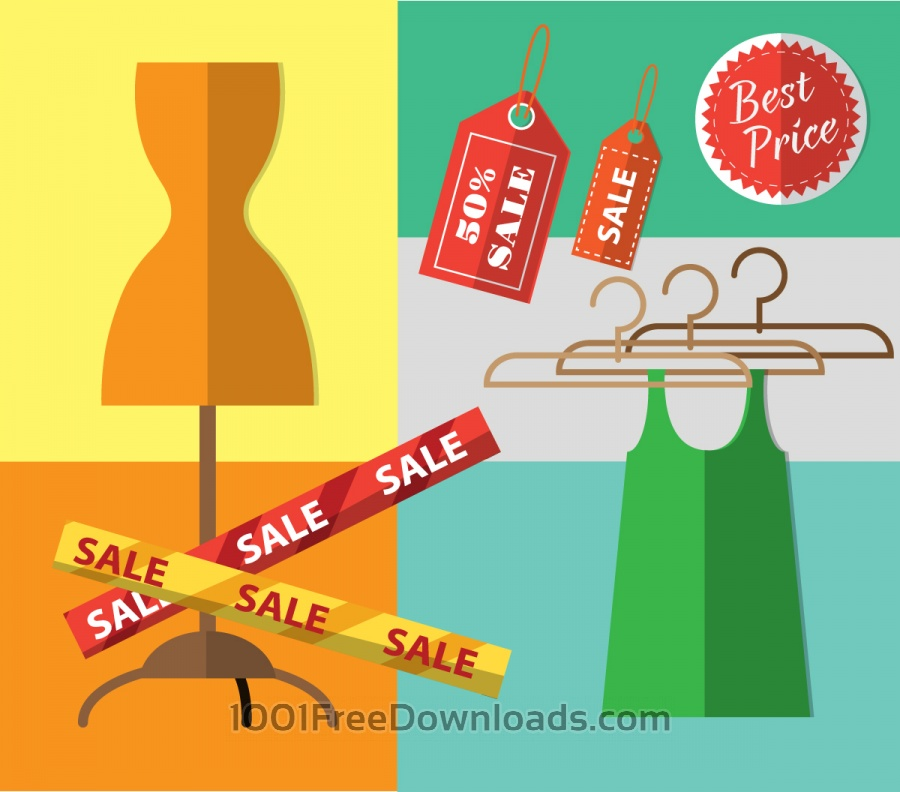 Free Vectors: Shopping objects illustration for design | Backgrounds