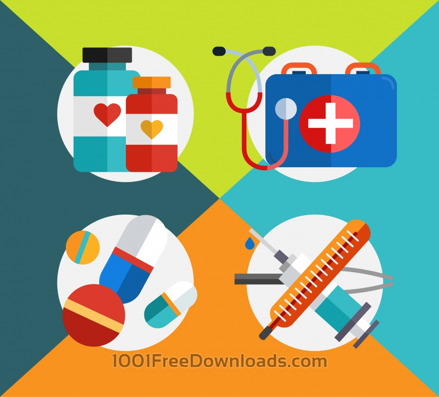 Free Vectors: Medical objects for design. Vector illustrations | Backgrounds