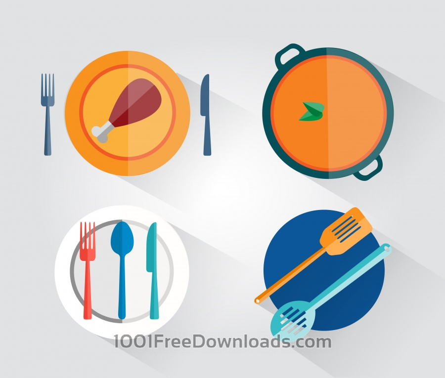 Free Food objects for design. Vector illustrations