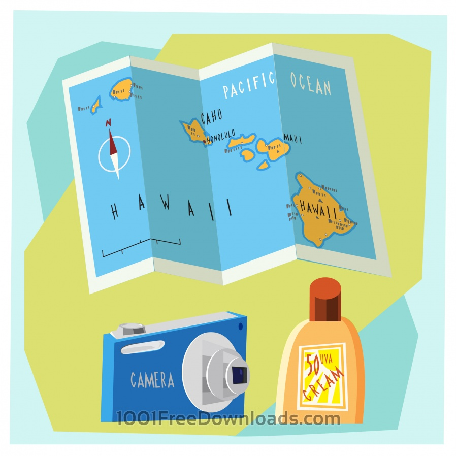 Free Vectors: Travel cartoon objects vector illustration for design | Objects