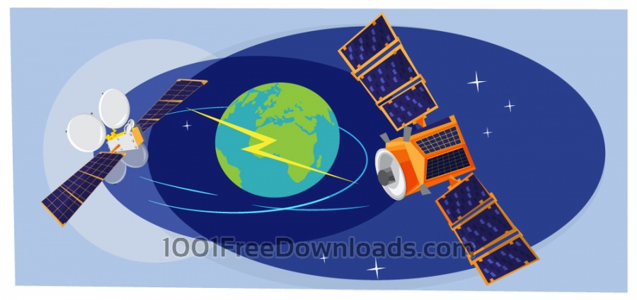 Free Collection of spaceships and planets, space vector illustration