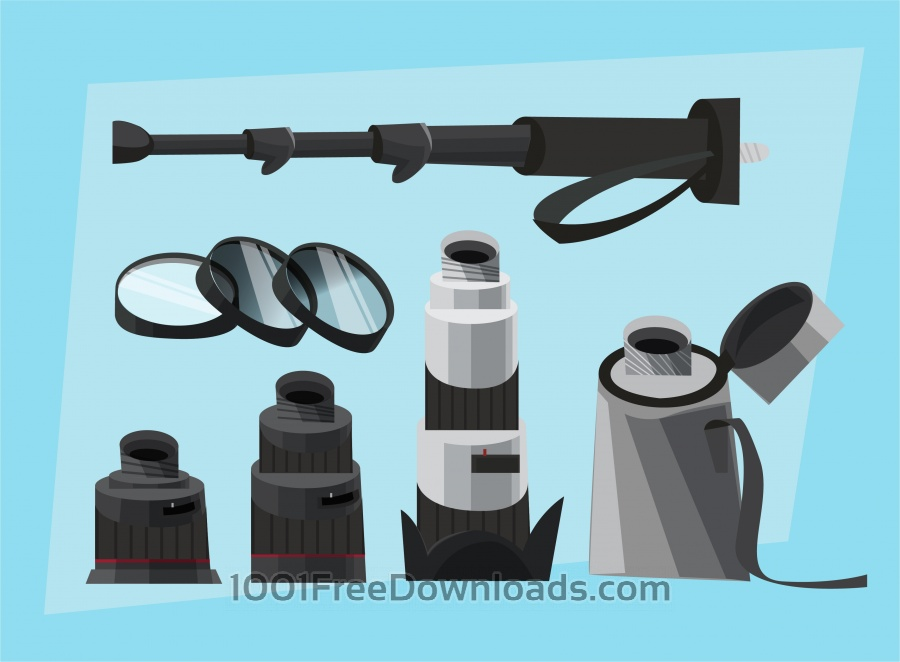 Free Photographer equipment at work. Vector illustration