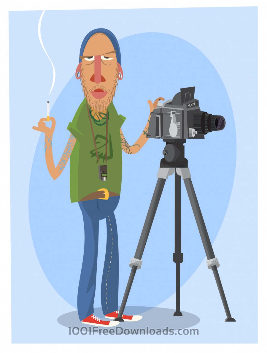 Free Photographer with equipment at work. Vector illustration