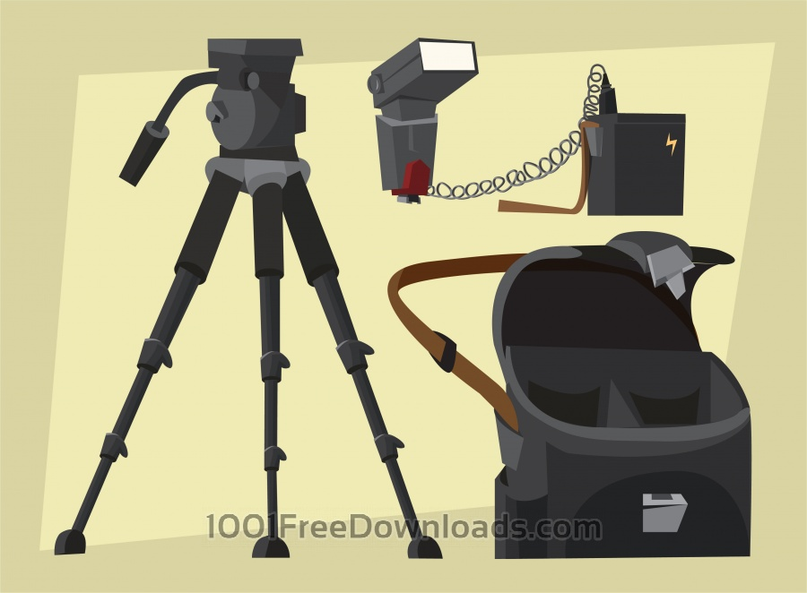 Free Vectors: Photographer equipment at work. Vector illustration | Objects