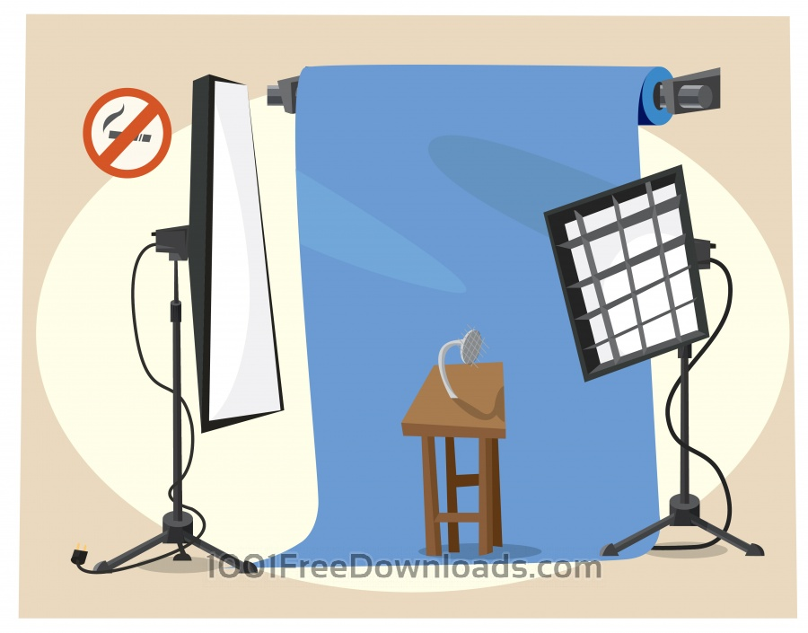Free Vectors: Photographer equipment at work. Vector illustration